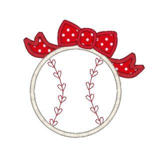 Baseball Bow Applique Design