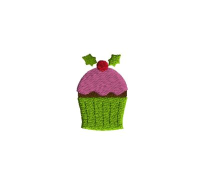 Mini Christmas Cupcake Embroidery Design