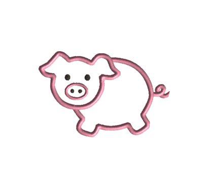 Pig Applique Design-69