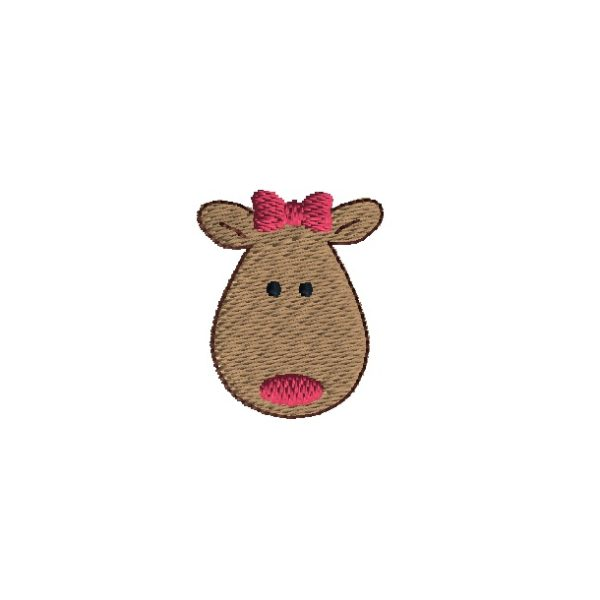 Mini Reindeer Embroidery Design with Bow