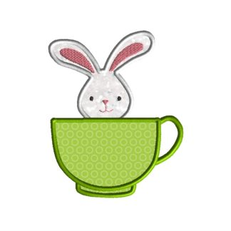 Teacup Bunny Applique Design