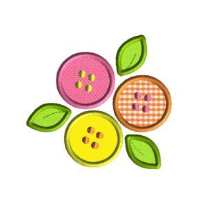 Button Flowers Applique Design