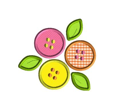Button Flowers Applique Design