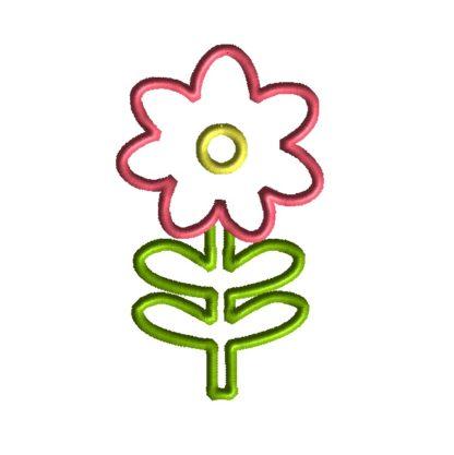 Flower with Stem Applique Design