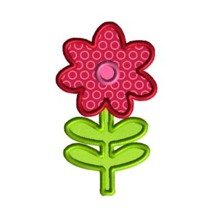 Flower with Stem Applique Design