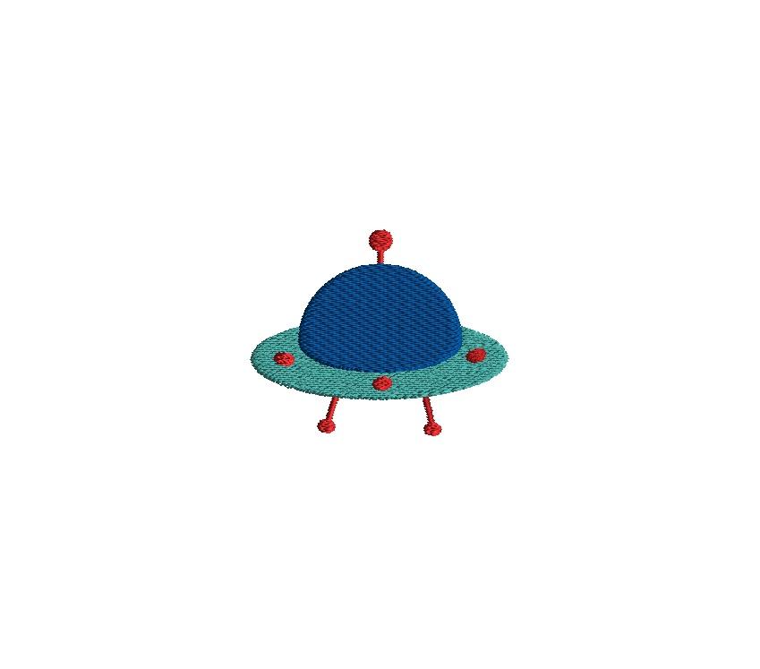 Mini Alien Ship Embroidery Design