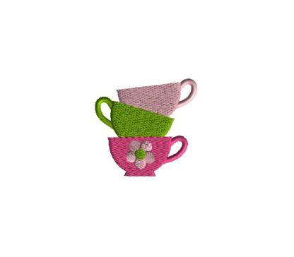Mini Teacup Stack Embroidery Design