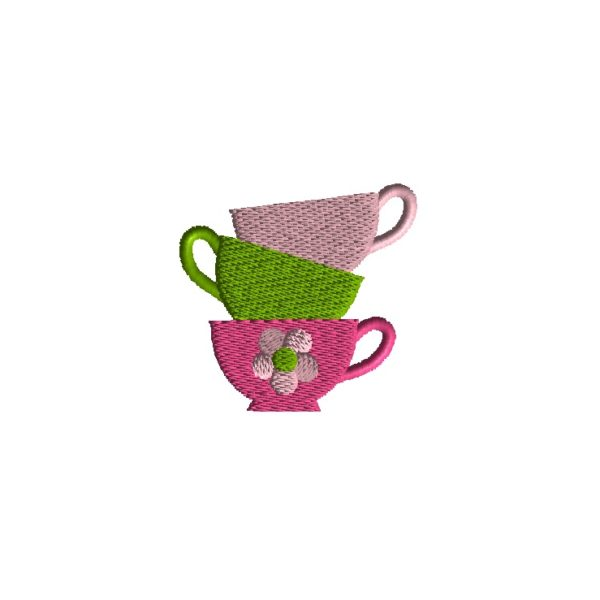 Mini Teacup Stack Embroidery Design