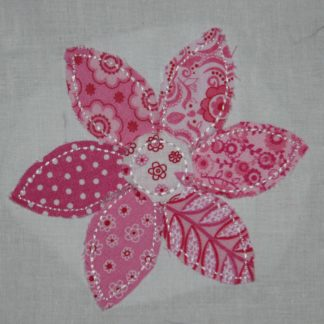 Raggy Flower Applique Design Six Petal