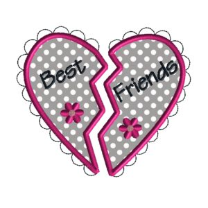 Best Friends Heart Applique Design
