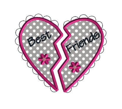 Best Friends Heart Applique Design