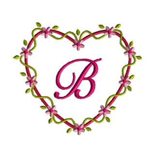 Heart Flower Frame Applique Design