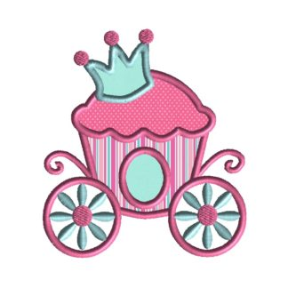 Princess Cupcake Carriage Applique Design
