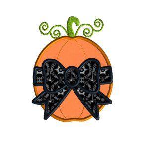 Pumpkin with Bow Applique Design