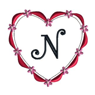 Ribbon Heart Frame Embroidery Design