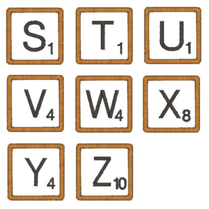 Scrabble Font Embroidery Design