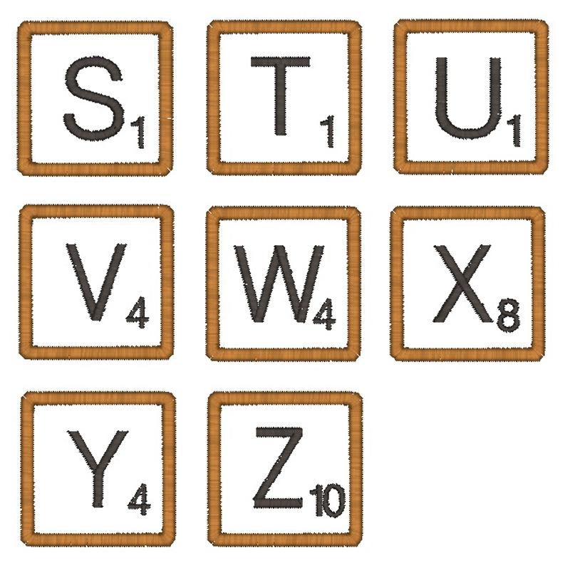 Scrabble Font Embroidery Design