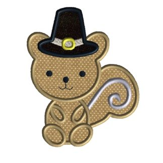 Thanksgiving Squirrel Applique Design