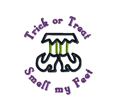 Trick or Treat Witch Feet Applique Design