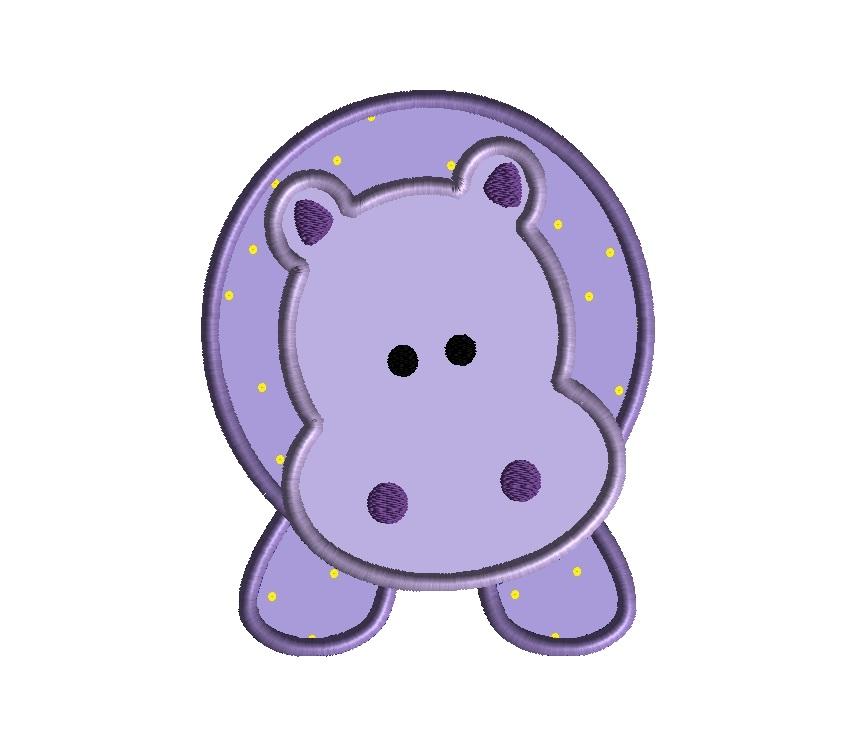Hippopotamus Applique Design