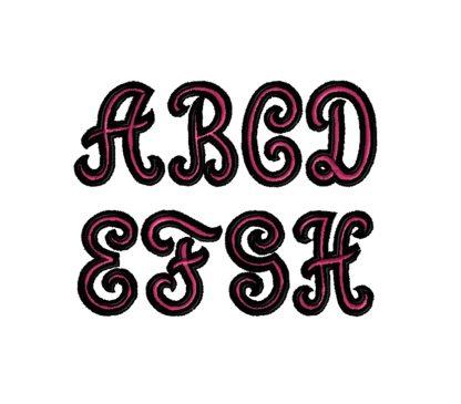 Capital Script 2 Color Font Embroidery Design