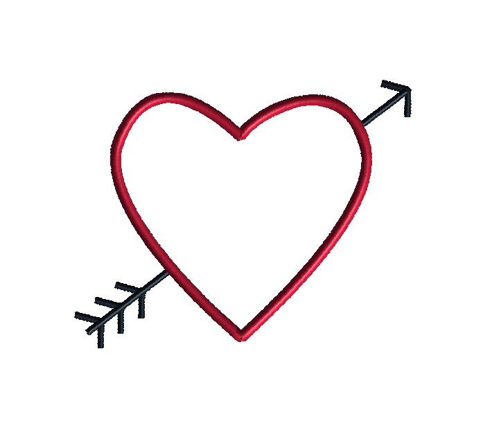 heart and arrow applique machine embroidery design. Black Bedroom Furniture Sets. Home Design Ideas