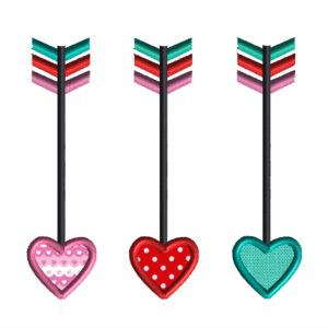 Heart Arrow Applique Design