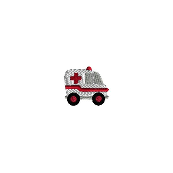 Mini Ambulance Embroidery Design