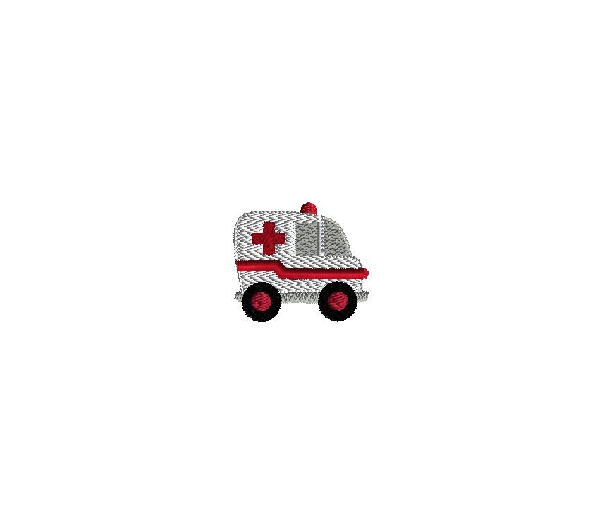 Mini Ambulance Embroidery Design