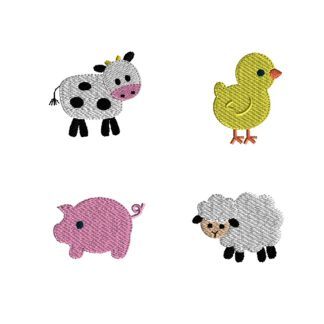 Mini Barnyard Animals Embroidery Set