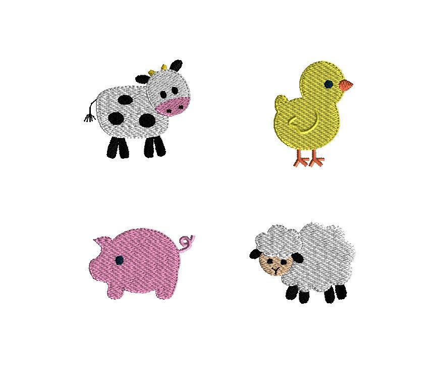 Mini Barnyard Animals Embroidery Set