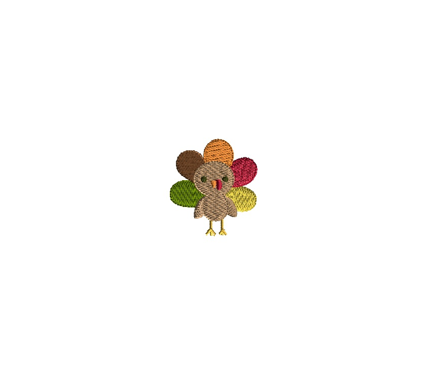 Mini turkey embroidery design