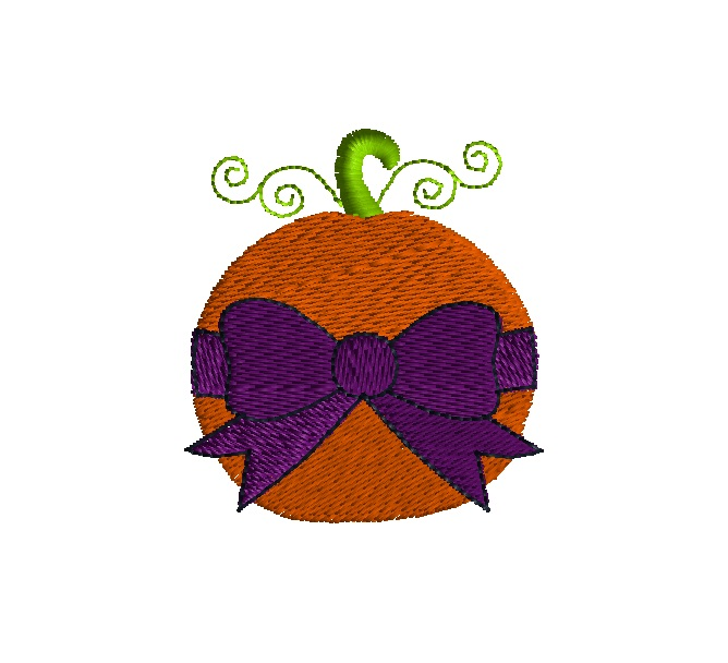 Mini Pumpkin Embroidery With Bow