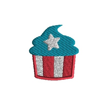 Mini 4th of July Cupcake Embroidery Design