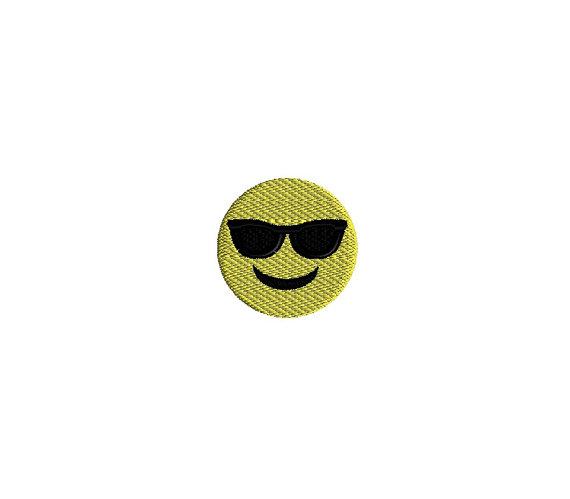 Mini Emoji Cool Face Machine Embroidery Design