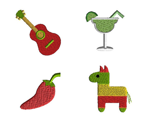 Mini Fiesta Machine Embroidery Design Set