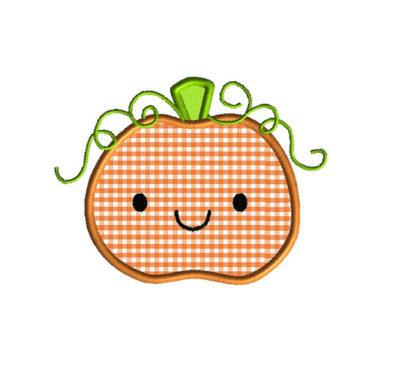 Cute Pumpkin Applique Machine Embroidery Design 3