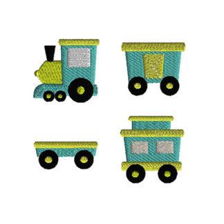 Mini Train Cars Machine Embroidery Design Set