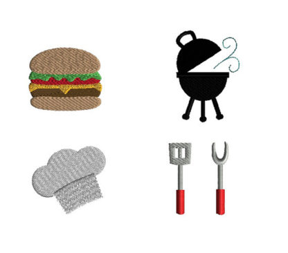 Mini BBQ Machine Embroidery Design Set