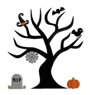 Halloween Tree Applique Machine Embroidery Design 1