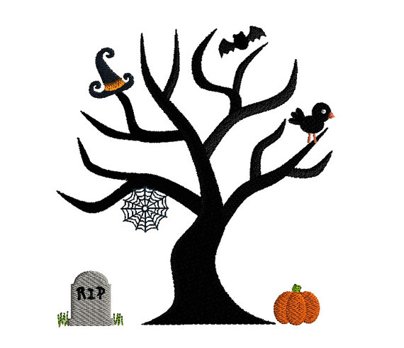Halloween Tree Applique Machine Embroidery Design 1
