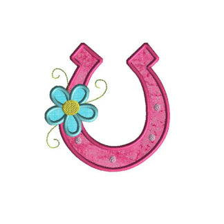 Horseshoe with Flower Applique Machine Embroidery Design 1