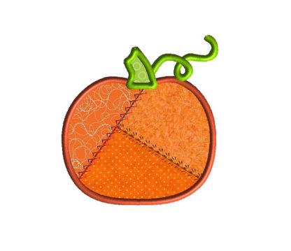 Patchwork Pumpkin Applique Machine Embroidery Design 2