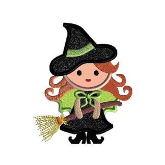 Cute Witch Applique Machine Embroidery Design 1