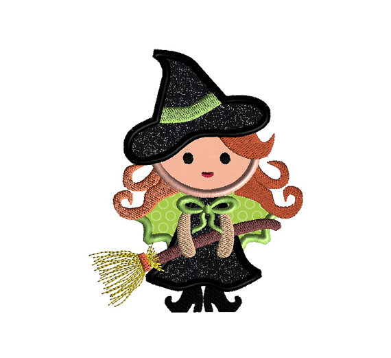 Cute Witch Applique Machine Embroidery Design 1