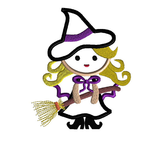 Cute Witch Applique Machine Embroidery Design 2