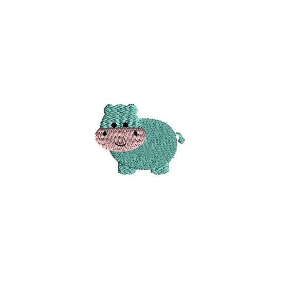 Mini Hippo Embroidery Design