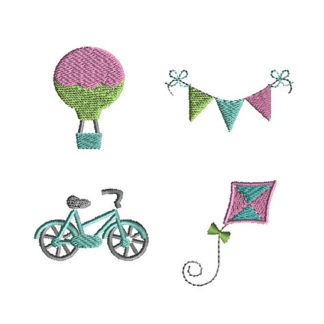 Mini Hot Air Balloon, Banner, Kite and Bicycle Machine Embroidery Design Set