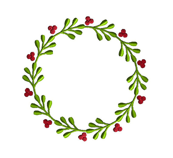 Berry Wreath Font Frame Applique Machine Embroidery Design 3