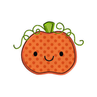 Cute Pumpkin Applique Machine Embroidery Design 1